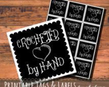 "Chalkboard ""Crocheted by Hand"" Printable Product Tags or Stickers PDF - 2x2 in square scallop edge with heart DIY label for handmade crochet"