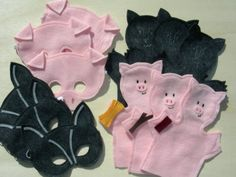 Big bad wolf mask and finger puppets.