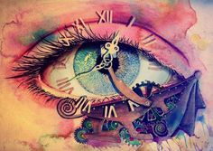 art, beautiful, blue, clock, colors, cool, drawing, eye, fantastic, love, painting, pink, strange, surreal, time