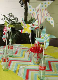 pinwheel party...love the fabric used for runner!