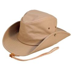 Cotswold Country Hats Explorer Brown Leather Bush Hat Includes Removable Leather Chin Strap