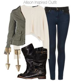 Zara crop top / Free People green military style jacket / Topshop jeans / Free People tall boots / Gold jewelry, $3.59