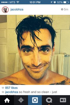 Jakes most recent selfie - fresh out if the shower! Jacob Hoggard, My Eyes, Handsome, Selfie, Stars, Men, Fresh, Shower, Rain Shower Heads