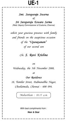 Example Of Upanayanam Invitation Sample And Description