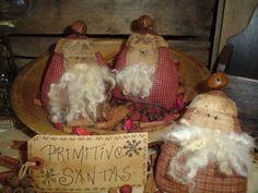 Nanny Goat Primitives: Primitive Santa Ornie Trio