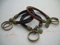Womens Leather Bracelet and Valet Keychain by UrbanSurvivalGearUSA, $18.99
