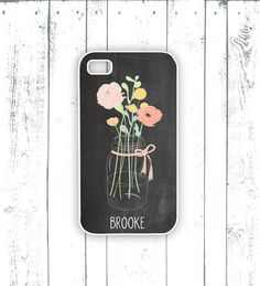 Chalkboard iPhone Case - Flower iPhone Case in Pink and Yellow - Monogrammed iPhone Case - Mason Jar iPhone | via MooseberryCases | Etsy