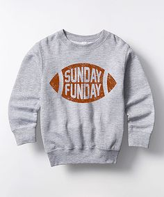 Loving this Athletic Heather 'Sunday Funday' Pullover - Toddler & Kids on #zulily! #zulilyfinds