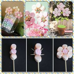 Incredibly Lovable Valentine's Day Party Decoration Ideas Marshmallow Flowers, Marshmallow Pops, Food Bouquet, Candy Bouquet, Sweet Trees, Candy Crafts, Ideas Para Fiestas, Candy Party, Unicorn Birthday Parties