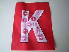Momma's Fun World: Alphabet crafts for each letter- haha I can just imagine the parent's faces when they see their boy with lipstick on after this craft