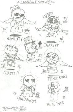 Binding of Isaac - 7 heavenly Virtues (Sketch) by LeatherIceCream