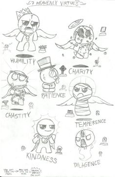 Binding of Isaac - 7 heavenly Virtues (Sketch) by LeatherIceCream