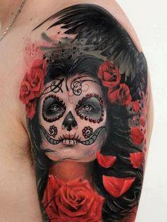 Female Vampire Sugar Skull Sleeve Tattoos - ideas in 2016