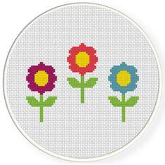 FREE Triple Flower Cross Stitch Pattern
