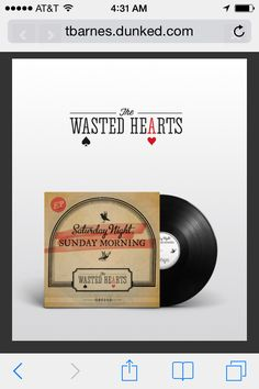 Saturday Night, Sunday Morning LP designed for The Wasted Hearts. Tbarnes.graphics 2014
