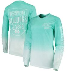 Mississippi State Bulldogs Blue 84 Women's Iniquity Ombre Oversized Long Sleeve T-Shirt - Aqua