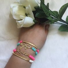 Love & bow bracelet set Brand new18K gold platedNickel and lead freeBeautiful stretch bracelets 5 sets available                                                                            Bundle discount availableNo tradesNo offsite transactions  T&J Designs Jewelry Bracelets