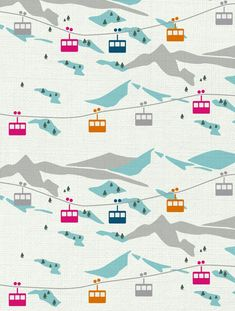 Gondola Designer Fabric by Aimée Wilder. Sold by the yard. Inspired by Aimée's own love for the mountains, this snow scene with ski gondolas is the perfect fabric for skiers & snowboarders everywhere! Pattern Texture, Surface Pattern Design, Pattern Art, Pattern Illustration, Art And Illustration, Illustrations, Mountain Illustration, Motifs Textiles, Textile Patterns