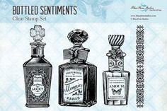 Blue Fern Studios Clear Stamp - Bottled Sentiments