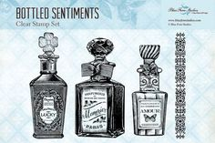 Blue Fern Studios Clear Stamp - Bottled Sentiments