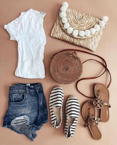 Summer outfit flatlay - round basket bag and striped Soludos espadrilles