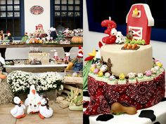 festa-aniversario-infantil-fazendinha-  decoração da mesa e banco(2 níveis)