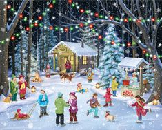 """Friends and family skate and frolic under the lights in this traditional holiday scene. These beautifully illustrated jigsaw puzzles are perfect for passing the time in anticipation of Christmas. They also make great gifts for kids and adults alike! All of our signature puzzles are made in the United States with recycled materials ensuring quality craftsmanship. Puzzle includes 1000 pieces and measures 30""""x24"""" when completed. Artwork by Randy Wollenmann."""