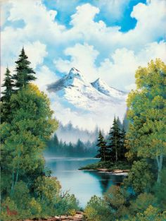 """Bob Ross Painting.   """"We want happy paintings. Happy paintings. If you want sad things, watch the news."""""""
