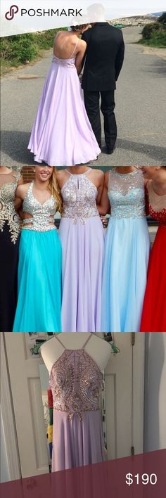 High Neck Jovani Prom dress Beautiful lilac prom dress with a high neck and low back. The dress also has articulate rose gold and silver beading!  In perfect condition! I love this dress so much! Jovani Dresses Prom