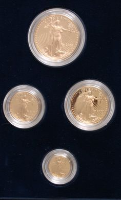 Gold American eagle 2002 USA folder with four gold coins. In total 57.49 Gr.    Dealer  Badisches Auktionshaus    Auction  Minimum Bid:  1600.00 EUR