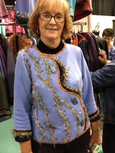 Sweatshirt transformation made with my 'Living' Talking Pattern™.  On a proud customer...