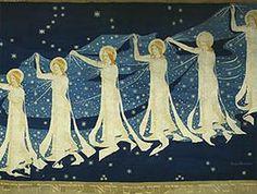 "Melkeveien"" (The Milky Way) tapestry by internationally-acclaimed Norwegian tapestry artist Frida Hansen Born in Stavanger, Norway, Frida was active at the turn of the twentieth century, pioneering the development of Norwegian textile art. Needlepoint Designs, Needlepoint Canvases, Textile Fiber Art, Textile Artists, Scandinavian Folk Art, Tapestry Weaving, Map Art, Art History, Art Decor"