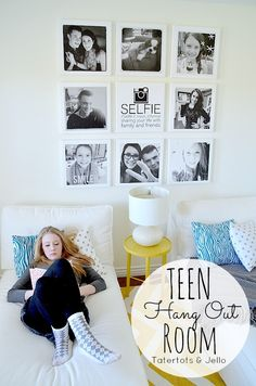 DIY Selfie Tween/Teen Instagram Hangout Wall with FREE Selfie Printable -- Tatertots and Jello #DIY #selfie