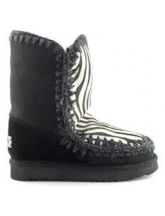 Mou Eskimo 24 Limited Edition Short Boots Women Black/Front Zebra White #mou #eskimo #boots #women #fashion