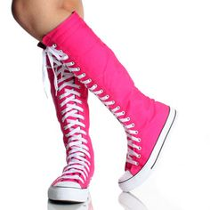 pink knee high converse