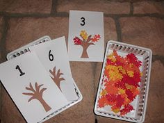 Lots of cute preschool learning ideas.more of an autumn theme but could easily provide activities for little ones during Thanksgiving festivities. Fall Preschool Activities, Counting Activities, Preschool Lessons, Preschool Classroom, Preschool Crafts, Number Activities, Kindergarten Math, Kid Crafts, Classroom Ideas