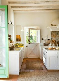 Country Kitchen-dutch door...want! Would be perfect between the kitchen and laundry roo.