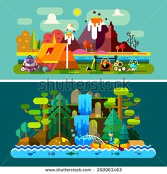 Summer landscapes: tent and fire in mountains background, a man in boat floats on river, forest, waterfall. Hiking and camping. Vector flat illustration