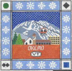 Okemo Mountain Needlepoint Pillow by DoolittleStitchery on Etsy