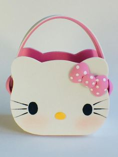 This cute candy basket is hand made, it is made with foam sheets and hand paint. Diy Crafts For Gifts, Foam Crafts, Kids Gift Bags, Hello Kitty Tattoos, Bedroom Decor For Teen Girls, Hello Kitty Birthday, Hello Kitty Collection, Cute Candy, Spring Crafts For Kids