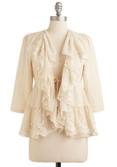"Romantic Heroine Jacket. ""Alas,"" cried the gauzy cotton jacket. #wedding #modcloth"