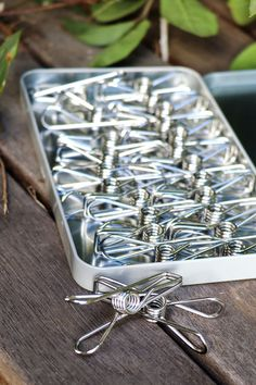 A long lasting gift, you'll love these stainless steel pegs in handy reusable tin!   Designed in Australia by a small business person, each peg is constructed with one piece of wire. This mans they won't snap or break like other pegs! Green Cleaning Recipes, Steel Grades, Laundry Solutions, Clothes Pegs, Cost Of Goods, Stainless Steel Wire, Tin, Australia, Business