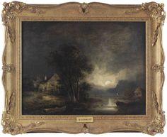 Samuel David Colkett Original Oil Painting Moonlight Night Coast Signed Dated Norwich School, Moonlight, Coast, David, Oil, The Originals, Night, Antiques, Painting