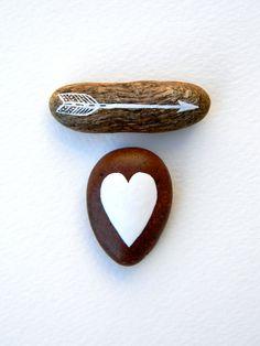 Valentine's  rock. paint. heart. arrow.