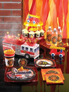 Keep the Party Hot With These Firefighter Party Planning Tips . Kids Birthday Themes, Boy Birthday Parties, Birthday Party Decorations, Birthday Supplies, Birthday Celebration, Firefighter Birthday, Wholesale Party Supplies, Party Hats, Party Ideas