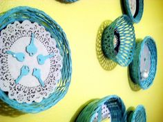 Baskets as colorful wall art