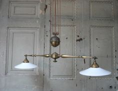 Vintage 1910 double rise and fall pendant light - beautiful