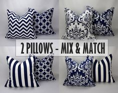 2 x 20 Inch Pillow Covers - Navy Blue and White, Mix and Match Package. $38.00, via Etsy.