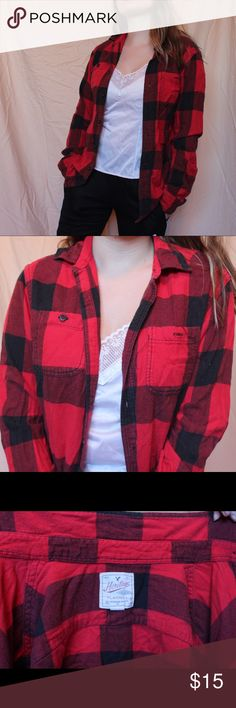 Classic American Eagle Flannel Red and black class flannel! Comfy and cute from American Eagle ❤️ men's size small but fits like a medium in women's American Eagle Outfitters Tops Button Down Shirts