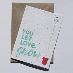 You let love grow - Plantable Postcard by niko niko